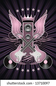 Guitar motif featuring wings and speakers.