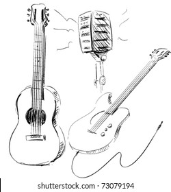 Guitar Music microphone icon set hand drawn illustrations. electro and acoustic, microphone.