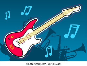 Guitar music with musical instrument silhouettes