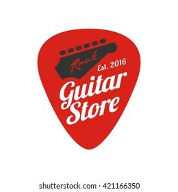 Guitar, music store vector logo, emblem, icon, sign. Graphic illustration, design element of guitar neck and fingerboard