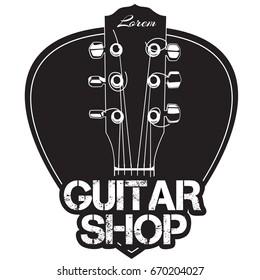 Guitar neck icon with guitar shop text. Monochropme design