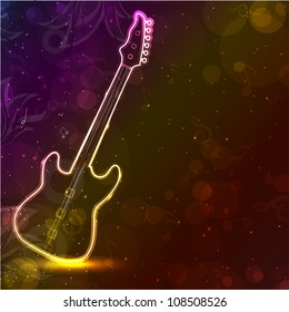 Guitar with neon lights on colorful grungy background. EPS 10.