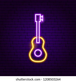 Guitar Neon Sign. Vector Illustration of Music Promotion.