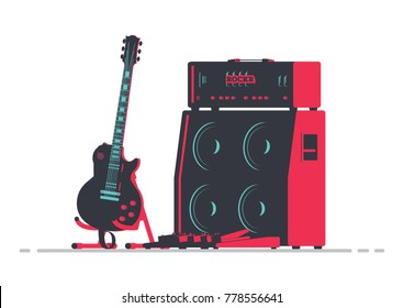 Guitar next to Tube Amplifier 4x12 Stack and Pedalboard. Musical Instruments Flat Vector Illustration.