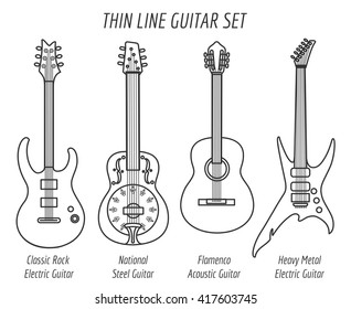 Guitar outline icons. Vector thin line set
