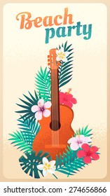 Guitar with palm leaves and tropical flowers. Concept for beach party, ethnic music or open air festival. Can be used as poster, card, flyer or invitation. Retro vector illustration