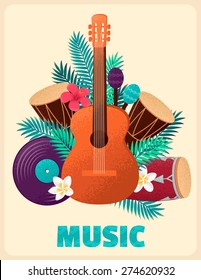 Guitar with percussion and conga drums, maracas, vinyl record, palm leaves and tropical flowers. Concept for beach party, ethnic music or open air festival. Poster, card, flyer or invitation