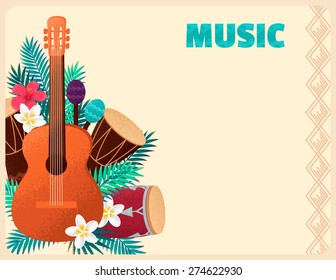 Guitar with percussion and conga drums, maracas, palm leaves and tropical flowers. Concept for beach party, ethnic music or open air festival. Poster, card, flyer or invitation