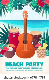 Guitar, percussion and conga drums, pineapple, coconut cocktails with hibiscus flowers, palm leaves. Retro vector illustration. Place for your text. Invitation, banner, card, poster, flyer