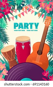 Guitar, percussion and conga drums, vinyl record, flags, palm leaves, frangipani flowers vertical template. Retro vector illustration. Place for your text. Invitation, banner, card, poster, flyer