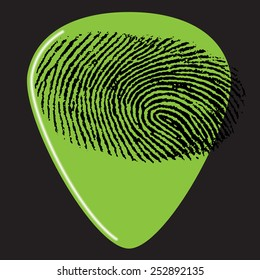 A guitar pick with a fingerprint on it for Print or Web