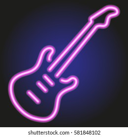 guitar pink neon glowing on dark background of vector illustration