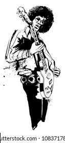 Guitar player in black and white - vector illustration