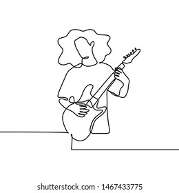 Guitar player continuous line drawing of young boy playing electric music with youthful style