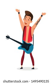Guitar player flat vector character. Young cool male guitarist performance isolated clipart on white background. Happy guitarist with string electrical musical instrument cartoon design element