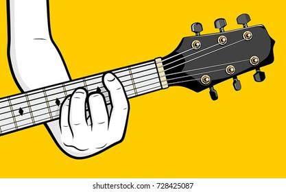 Guitar player hand playing B minor chord