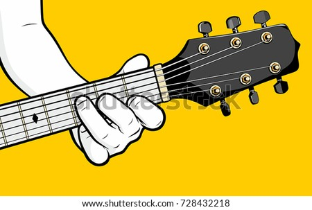Guitar Player Hand Playing F Chord Stock Vector (Royalty Free ...