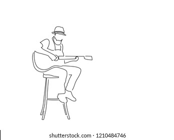 Guitar player isolated line drawing, vector illustration design. Music collection.