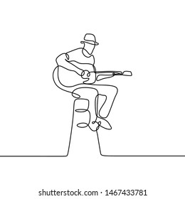 Guitar player one line drawing of person playing classical sit on the chair