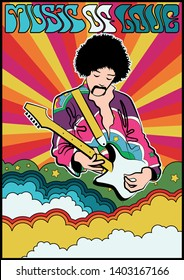 Guitar Player Psychedelic Art Poster 1960s Hippie Style
