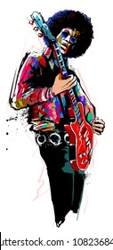 Guitar player with red electric guitar - vector illustration