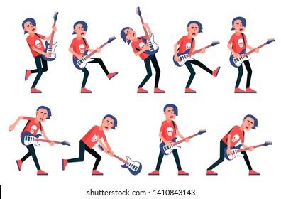 Guitar player from a rock band - various poses. Cartoon vector character.