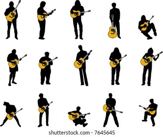 guitar player silhouettes