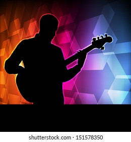 Guitar player vector background concept