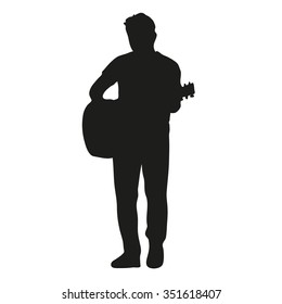 Guitar player vector silhouette
