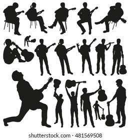 Guitar Players Vector Silhouettes