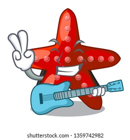 With guitar red starfish in the cartoon shape