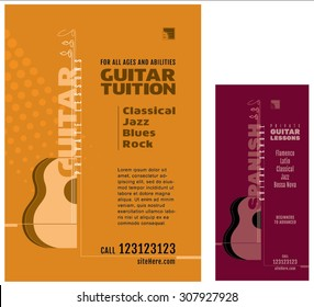 Guitar. Guitar School. Guitar Lessons Poster. Acoustic Guitar