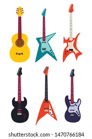 Guitar set. Acoustic guitar, electric guitar on white background. String musical instruments. Vector illustration eps 10.