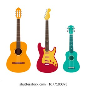 Guitar set. Acoustic guitar, electric guitar and ukulele on white background. String musical instruments. Cute flat cartoon style. Vector illustration