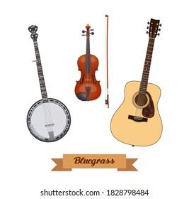Guitar set. Realistic bluegrass instruments on white background. Violin, banjo & guitar. Vector illustration