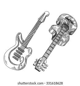 guitar set vintage drawing