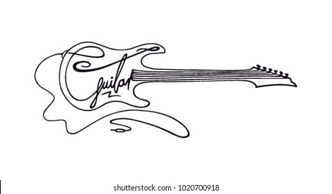 Guitar shape with black outline and letters. Guitar letters in a guitar shape. Electric sound. Shaped letters illustration. Rock and roll music. Guitar silhouette clean black outline with strings.