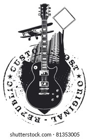 guitar shield with stamp city and plane