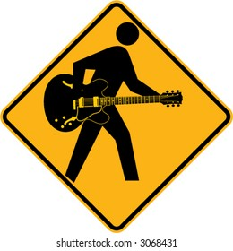 Guitar sign with acoustic-electric guitar