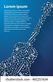 Guitar silhouette made up from music notes and signs on blue background with long shadow and text template