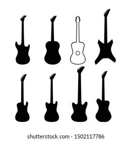 guitar silhouette set vector. music symbol icon