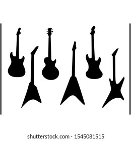 Guitar silhouettes. Black acoustic and electric music string instruments. Vector illustration heavy rock and jazz guitars isolated on white