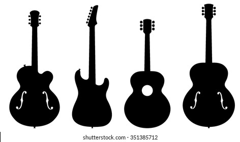 Guitar Silhouettes. Vector Illustration of Various Types of Guitar Silhouettes