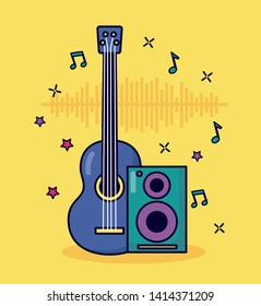 guitar and speaker music colorful background vector illustration