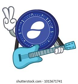 With guitar Status coin mascot cartoon