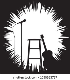 A Guitar, Stool and Microphone silhouette with a grunge border