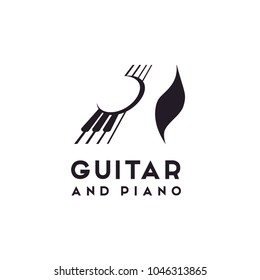 Guitar Strings and Piano Key Music Instrument logo design