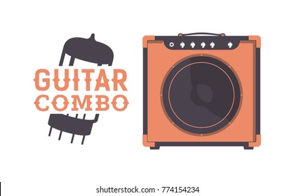 Guitar Tube Combo Amplifier. 12 Inch Guitar Cabinet. Music Instruments Vector Illustration