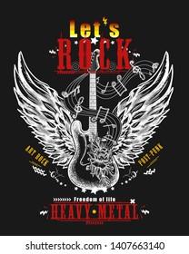 Guitar and wings. Let's Rock slogan. Musical vector art, t-shirt design