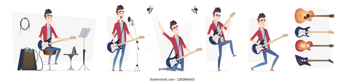 Guitarist in different dynamic poses. Guitar player performance. Design in a modern cartoon flat style